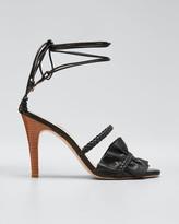Ulla Johnson Flora Metallic Ruffle Ankle-Wrap Sandals