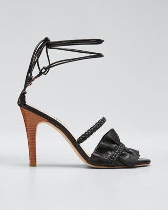 Ulla Johnson Flora Metallic Ruffle Ankle-Wrap Sandals