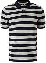 John Lewis Organic Cotton Stripe Polo Shirt, Navy/Grey