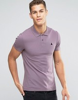 Asos Muscle Pique Polo Shirt With Logo In Purple