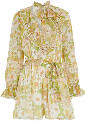 Zimmermann Super Eight Pussy-bow Ruffled Floral-print Silk-chiffon Playsuit