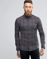 Asos Skinny Denim Shirt With Buffalo Plaid In Burgundy With Long Sleeves