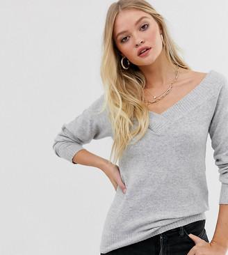 Vila off shoulder v neck rib sweater