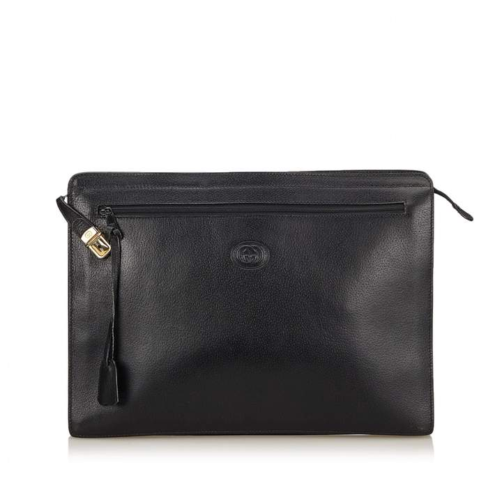 Gucci Vintage Black Leather Clutch Bag