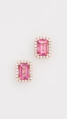 Suzanne Kalan 14k Rose Gold Emerald Cut & Pave Diamond Stud Earrings