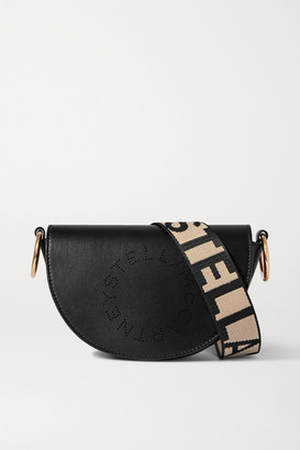 Stella McCartney Small Perforated Vegetarian Leather Shoulder Bag - Black