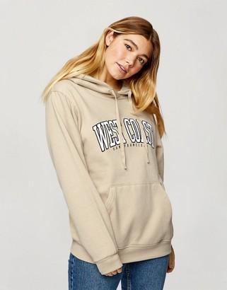 Miss Selfridge 'west coast' slogan hoodie in ecru