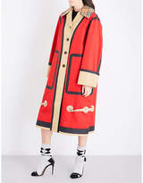 Burberry Ladies Red Contrast Modern Oversized Checked-Collar Waxed Cotton Coat
