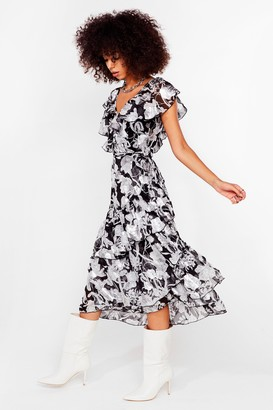 Nasty Gal Womens You Better Bel-leaf Us Ruffle Midi Dress - Black