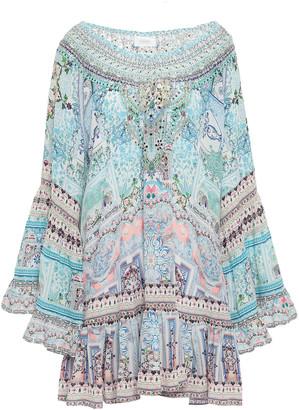Camilla Off-the-shoulder Crystal-embellished Printed Silk Crepe De Chine Mini Dress