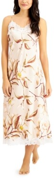 INC International Concepts Inc Lace-Trim Printed Long Nightgown, Created for Macy's