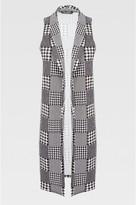 Select Fashion Fashion Womens Grey Mono Check Sleeveless Jacket - size 6