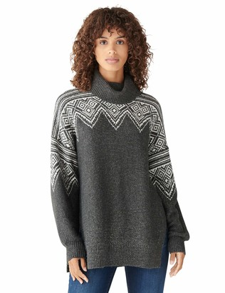 Lucky Brand Women's Long Sleeve Turtle Neck Relaxed Intarsia Tunic