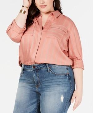 Seven7 Jeans Plus Size Flap-Pocket Button-Up Shirt