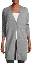 Lafayette 148 New York Sequin-Embellished Cashmere-Blend Duster Cardigan, Nickel