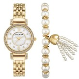 Anne Klein Women's Crystal Watch & Tassel Bracelet Set