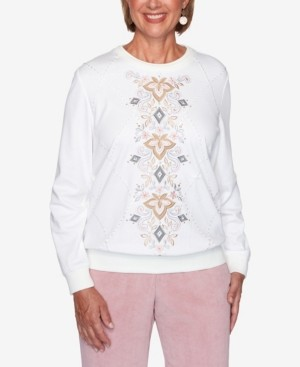 Alfred Dunner Women's Missy Glacier Lake Center Scroll Embroidery Top