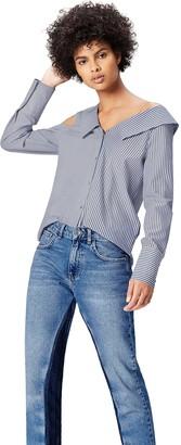 Find. Amazon Brand Women's Oversized One Shoulder Stripe Blouse