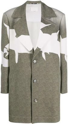 Maison Margiela Graphic-Print Herringbone Coat