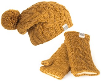 Kusan 100% Wool Cable Knit Bobble Beanie Hat & Matching Handwarmers (Yellow)