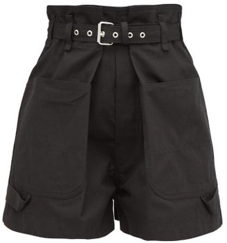 Isabel Marant Ike Paperbag-waist Cotton Shorts - Womens - Black
