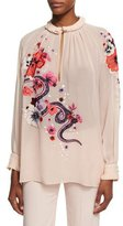 Roberto Cavalli Embroidered Snake & Floral Chiffon Blouse, Pink