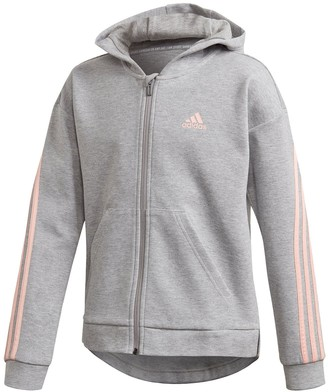 adidas Girls 3-Stripes Full Zip Hoodie - Grey Heather