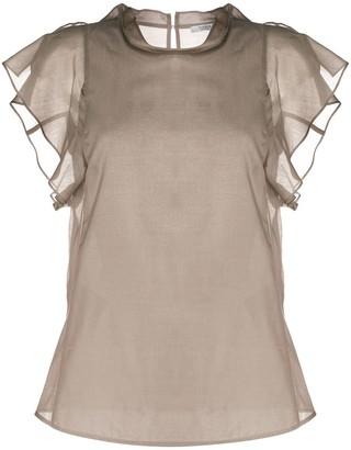 Peserico Sheer Ruffled-Sleeves Blouse