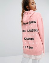Criminal Damage Oversized Hoodie With Back Type Print