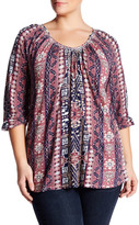 Lucky Brand Printed 3/4 Length Sleeve Blouse (Plus Size)
