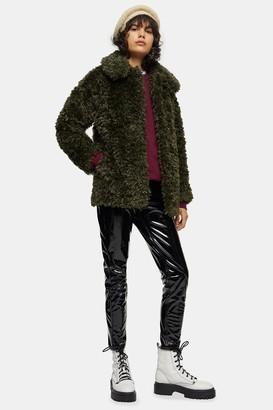 Topshop Womens Khaki Curly Borg Coat - Khaki
