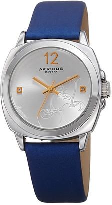 Akribos XXIV Women's Satin Over Genuine Leather Diamond Watch