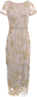 Marchesa Embellished Embroidered Tulle Midi Dress