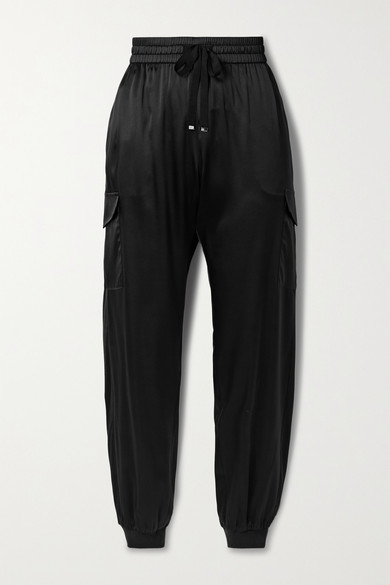 CAMI NYC The Elsie Silk-blend Charmeuse Track Pants - Black