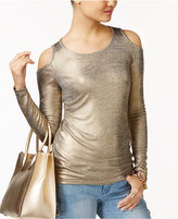 MICHAEL Michael Kors Metallic Cold-Shoulder Top