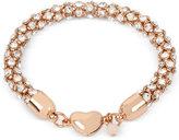 Betsey Johnson Rose Gold-Tone Pavé Crystal Heart Bracelet