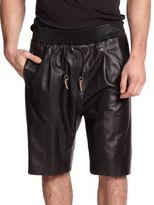 Giuseppe Zanotti Embeliished Racing Stripe Leather Shorts