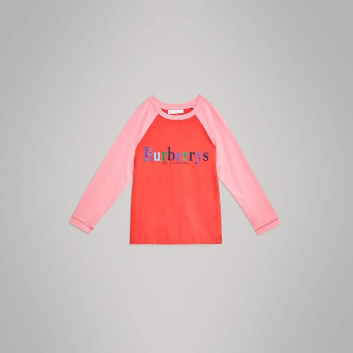 Burberry Archive Logo Print Two-tone Cotton Top , Size: 14Y, Red