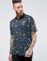 Asos Oversized Polo Shirt With All Over Koi Print With Revere Collar