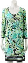 Caribbean Joe Women's Palm Leaf Shirt Dress