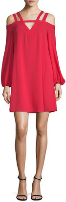 BCBGMAXAZRIA Strappy Cold-Shoulder Shift Dress