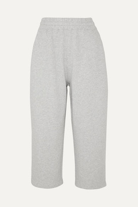 Alexander Wang Cropped Cotton-terry Track Pants - Light gray