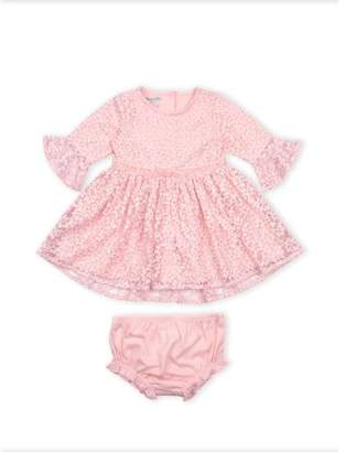 Nannette Ruffle Sleeve Overlay Dress and Diaper Cover, 2pc Set (Baby Girls)