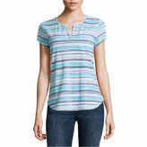 Liz Claiborne Short Sleeve Split Crew Neck Floral T-Shirt-Womens Talls