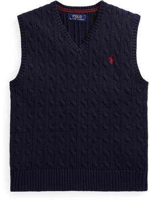 Ralph Lauren Cable-Knit Cotton Jumper Waistcoat