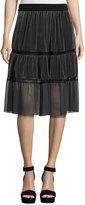 Elie Tahari Audra Tiered Velvet Skirt, Gray