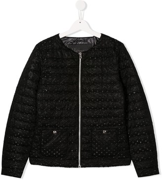 Herno TEEN quilted glitter-embellished jacket