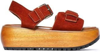 Marni Textured-suede Platform Sandals