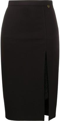 Twin-Set High-Waist Slit Midi Skirt