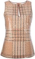 sequinned tartan sleeveless top